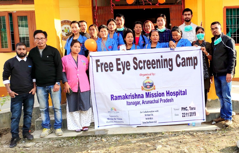 Free Eye Screening Camp  Organised by: Ramakrishna Mission Hospital, Itanagar  Under the Guidance of Sri Nabam Tuki,  Hon'ble MLA & Former Chief Minister of Arunachal Pradesh  Supported by: Mission for Vision, Mumbai  Total 121 Peoples screened, Free Medicine Distributed, 41 Spectacles distributed.